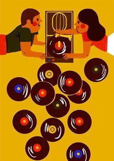 Vinyl record music art llustration by Virginie Morgand Vinyl Music, Vinyl Art, Art Music, Vinyl Records, Lp Vinyl, Art And Illustration, Musik Illustration, Outline Artists, Kitsch