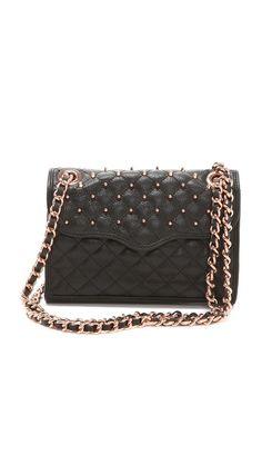 I love the idea of a bag created around an affair. A girl can dream. Rebecca Minkoff Studded Mini Affair Rose Gold Hardware.