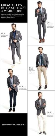 STYLE TIP: Remember you can break up your suit and gain an entire wardrobe. ---> FOLLOW US ON PINTEREST for Style Tips, our current SALES, men's Wardrobe essentials etc... ~ VujuWear