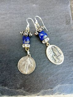 Holy Medal earrings, Lourdes, Lapis lazuli, Religious assemblage, mismatched earrings, Maria medal, religious gift, mary and jesus, gemstone Religious Gifts, Religious Jewelry, Gemstone Earrings, Sterling Silver Earrings, Vintage Earrings, Vintage Jewelry, Mary And Jesus, Boho Girl, Unique Christmas Gifts