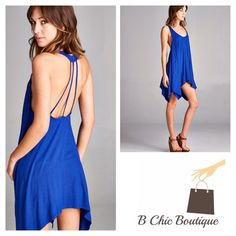 SALERoyal Blue Strappy Back Tunic Loose fit, sleeveless, scoop round neck  Shark bite hem Open back with strapping detail  Heavyweight knit jersey that is super soft, drapes and stretches very beautifully. Can be worn as a tunic or dress!   Available is S,M, L B Chic Tops