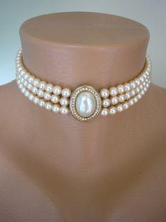 Pearl Choker Cream Pearls Great Gatsby Pearl And Rhinestone 3 Strand Pearls Vintage Bridal Bridal Choker Gatsby ROSITA Art Deco by CrystalPearlJewelry