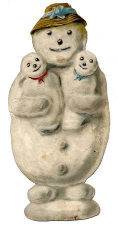 """A Victorian Scrap of a """"Mother Snowperson with Snowbabies"""". For the Victorian Scrapbook."""