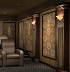 """""""Home Theater Wall Panel - simple sconces"""" - Make acoustic wall panels to baffle sounds from effecting other rooms."""