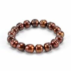 Cultured Pearl Stretch Bracelet 8 Inches Chocolate SusanB.. $49.00