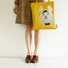 Mustard Yellow 'Julie' Tote Bag. Quirky, Hipster, Artistic, Cute, Urban , Kawaii, Berlin, Spring, Summer, Unique, Carachter, Club, Vintage.