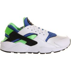 Nike Air Huarache White Scream Green ($125) ❤ liked on Polyvore featuring shoes, sneakers, nike, green shoes, white trainers, nike trainers, white shoes and green sneakers