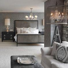 Contemporary Master Bedroom with Standard height, Chandelier, interior wallpaper, LUNA BELLA BURTON FLOOR LAMP, Carpet