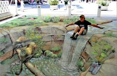 Street art illusions by Julian Beever 3d Street Art, Amazing Street Art, Street Art Graffiti, Street Artists, Amazing Art, Awesome, Illusion Kunst, Illusion Art, 3d Sidewalk Art