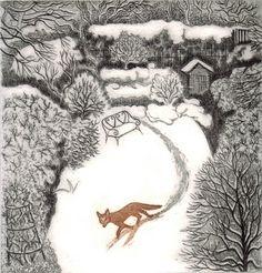 Elaine Marshall - Fox In Winter etching