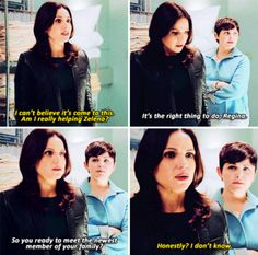 """Regina: """"I can't believe it's come to this. Am I really helping Zelena?"""" Mary Margaret: """"It's the right thing to do, Regina. So you ready to meet the newest member of your family?"""" Regina: """"Honestly I don't know."""""""