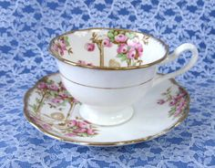 Royal Albert Crown China Rosalie Tea Cup And Saucer Hand Cored Transfe – Antiques And Teacups