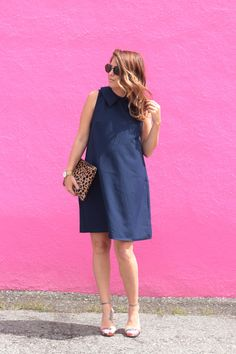 SO in love with this navy dress … and it's NOT maternity!!!