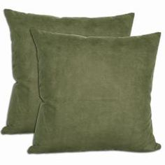 @Overstock - These microsuede throw pillows are a lovely accent to any room in your home.  These pillows feature an insert that is filled with grey duck feathers and duck down.  http://www.overstock.com/Home-Garden/Green-Microsuede-Throw-Pillows-Set-of-2/5643373/product.html?CID=214117 $31.49