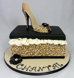Leopard Print High Shoe & Shoe Box Cake - cake by Ceri Badham Shoe Box Cake, Bag Cake, Shoe Cakes, Cupcake Cakes, 3d Cakes, Cheetah Print Cakes, Leopard Cake, Torta Animal Print, High Heel Cakes