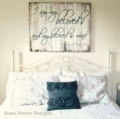 I am my beloved's wooden sign {love this... could hang it like this one here after the wedding!}