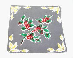 Vintage Christmas Handkerchief Cotton Green by AtticDustAntiques
