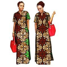 Kitenge Cotton African Women Long Dress with African Clothing For Women Cotton Material Lady Long Dress With Scarf African Fashion Designers, African Men Fashion, Africa Fashion, African Fashion Dresses, African Attire, African Wear, African Women, Fashion Outfits, African Style