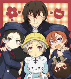 Dadzai and his kids Stray Dogs Anime, Bongou Stray Dogs, Bungou Stray Dogs Characters, Otaku, Dazai Osamu, Dogs And Kids, My Drawings, Manga Anime, Chibi