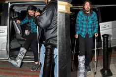 Dave Grohl spotted on crutches in London after breaking leg over the weekend Dave Grohl  #DaveGrohl