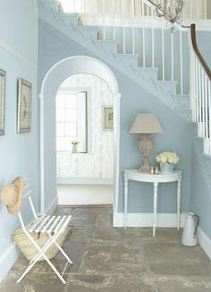 Find inspiration for hallway paint colours that are fresh, inviting and create a great first impression of your home. Duck Egg Blue Hallway, White Hallway, Hallway Ideas Entrance Narrow, Modern Hallway, Entrance Ideas, Entry Hallway, Flur Design, Home Design, Interior Design