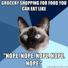 "Right?!?!?!? My favorite question after people find out what I can't have is ""OMG what DO you eat?"" White rice, white meat chicken baked or grilled, white bread, hard cheeses, skim milk, green beans and asparagus cooked until they're mushy, baby food, water, Gatorade you get the picture"
