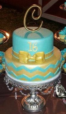 - 16th birthday cake with tiffany blue chevron print. Cake is covered in white chocolate Massa fondant. Airbrushed with gold sheen--by Tracy Martin @ Simply Southern Specialties