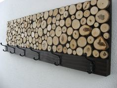 Maple Wood Slice Rustic Wood Coat Rack. Maybe the hubby could recreate this.