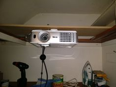 Click this image to show the full-size version. Projector Stand, Projector Ceiling Mount, Best Projector, Led Ceiling Lights, Ceiling Fan, Ceiling Speakers, Wood Ceilings, Ceiling Tiles, Home Depot