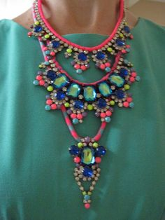 Neon statement necklace  neon necklace by distinguishedesigns, $185.00