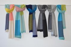 Collingwood Norris - Lightweight, colourful, handmade pieces inspired by the Inner Scottish Hebrides. Scarf, Handmade Scarves, Small Studio, Design Crafts, Textile Design, Knitwear, Inspiration, Luxury, How To Make
