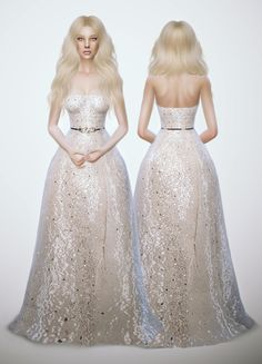 Glitter White Dress at Fashion Royalty Sims via Sims 4 Updates