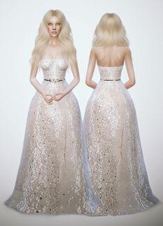 Glitter White Dress at Fashion Royalty Sims via Sims 4 Updates