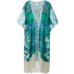 Athena Procopiou Paradiso Mosaico Kimono ($344) ❤ liked on Polyvore featuring intimates, robes, blue, athena procopiou, blue kimono, silk kimono robe, silk kimono and silk robe