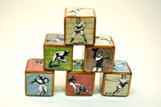 Football Blocks Room Decor Wooden Vintage by YoureItKids