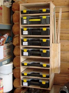 Get your garage shop in shape with garage organization and shelving. They come with garage tool storage, shelves and cabinets. Garage storage racks will give you enough space for your big items and keep them out of the way. Workshop Storage, Shed Storage, Garage Workshop, Tool Storage, Garage Storage, Recycling Storage, Workshop Ideas, Lumber Storage, Smart Storage