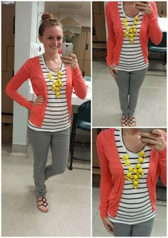 Exploring My Style blog. black and white striped tee, pink coral cardigan, grey skinny jeans, black sandals, yellow bubble statement necklace, casual work outfit