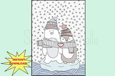 Cute Printable A5 Page Penguin and Bear Love by SweetestChelle