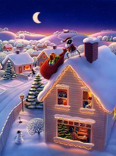 Christmas art by Robin Moline Christmas Scenes, Christmas Mood, Christmas Pictures, Christmas And New Year, All Things Christmas, Merry Christmas, Xmas, Christmas Nails, Christmas Quotes
