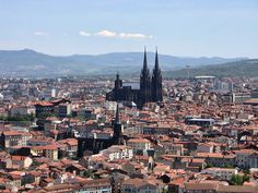 The cathedral of Clermont-Ferrand city, France. This is the Auvergne area, full of ancient volcanoes, so the rock is black by volcanic origin