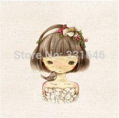 Girl Diy Handmade Cartoon 100% Hand Dyed Linen Fabrics Painting For Bag Sewing Craft Cotton Patchwork Fabric 5pcs/lot 20*20cm