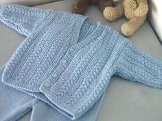 """""""Handsome Cables"""" Knitted Baby Boy Cardigan Free Knitting Pattern When expecting my fifth baby, I decided to knit a """"going home"""" outfit in. Baby Boy Cardigan, Knitted Baby Cardigan, Knit Baby Sweaters, Knitted Baby Clothes, Baby Cardigan Knitting Pattern Free, Knitting Patterns Boys, Baby Sweater Patterns, Free Knitting, Baby Patterns"""