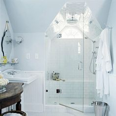 Subway Tile Entire Shower and Ceiling