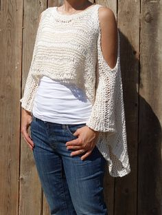 Top Knitting PATTERN Open Shoulder Cropped Sweater/Handknit