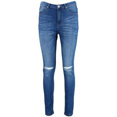 Boohoo Brianne High Waisted Skinny Jeans   Boohoo ($44) ❤ liked on Polyvore featuring jeans, high rise jeans, blue skinny jeans, denim skinny jeans, skinny jeans and blue high waisted jeans
