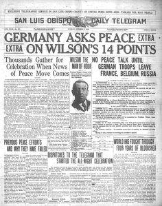 8 janvier 1918 : Wilson énonce les «Quatorze points» Periódico de la época en el que se puede leer: