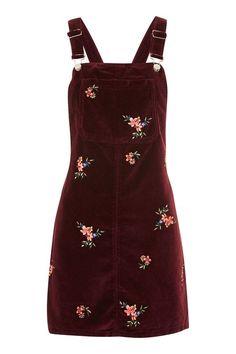 43ccc8eb73 MOTO Velvet Embroidered Pinafore Dress Red Velvet Dress, Velvet Skirt,  Burgundy Dress, Dress