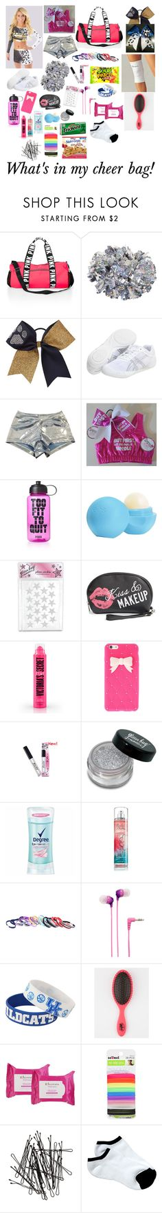 """What's in my cheer bag"" by kittylovecute ? liked on Polyvore featuring Asics, Victoria's Secret PINK, Eos, Amici Accessories, Fantasia, Sony, Forever Collectibles, Elemis, scunci and H&M"