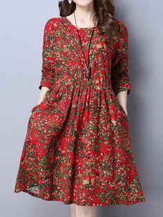 34314935bba99 Women Floral Printed High Waist Long Sleeve Vintage Dresses #Dresses  #VintageDresses 1950'lerden
