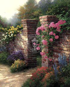 Belo óleo de Thomas Kincade ---Rose Garden.